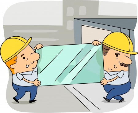 move: Illustration of Glaziers at Work Stock Photo