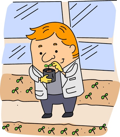 Illustration of an Agricultural Scientist at Work Stock Illustration - 9456901