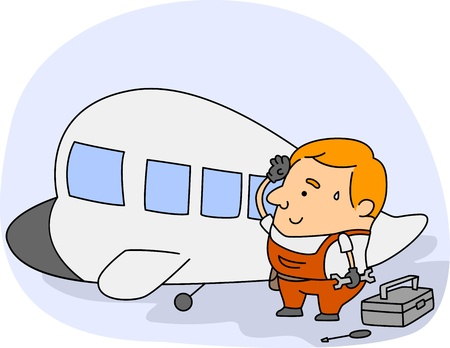 mechanic cartoon: Illustration of an Aircraft Mechanic at Work