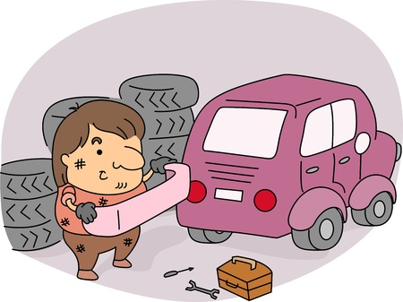 Illustration of an Auto Mechanic at Work illustration