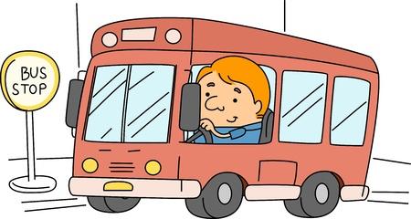 Illustration of a Bus Driver at Work illustration