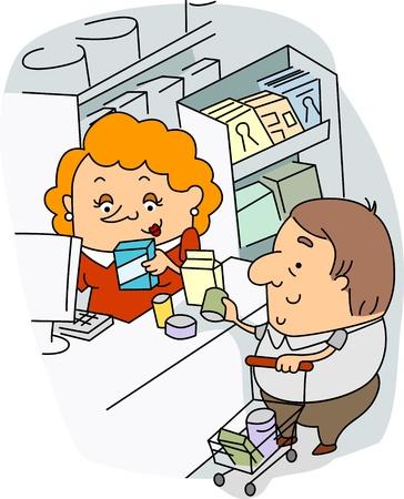 mujer en el supermercado: Ilustración de un cajero en el trabajo