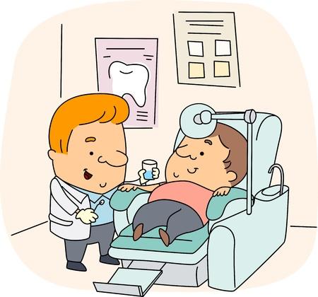 enjuague bucal: Ilustraci�n de una higienista Dental en el trabajo
