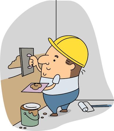 plasterer: Illustration of a Plasterer at Work