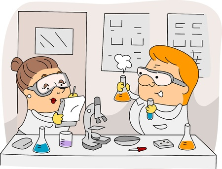 female scientist: Illustration of Chemists at Work