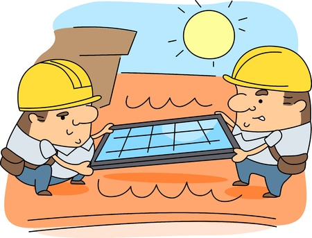 installer: Illustration of Solar Panel Installers at Work Stock Photo