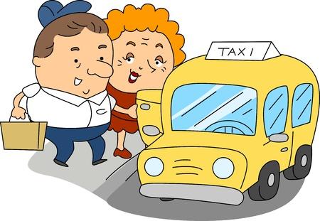 taxista: Ilustración de un taxista en el trabajo Foto de archivo