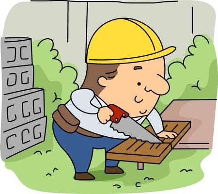 leñador: Ilustración de un leñador en el trabajo