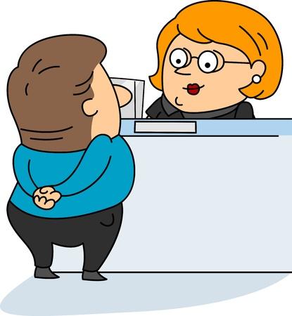 clerk: Illustration of a Bank Teller at Work
