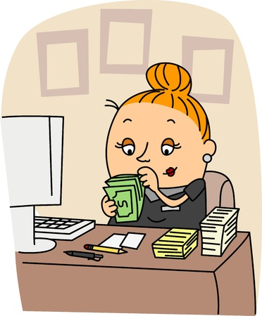 counting money: Illustration of an Accountant at Work