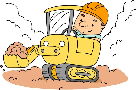 Illustration of a Construction Worker Operating a Backhoe Stock Illustration - 9456868