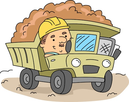 operating: Illustration of a Man Operating a Land Mover