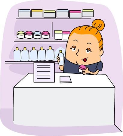 dermatologist: Illustration of an Esthetician at Work Stock Photo