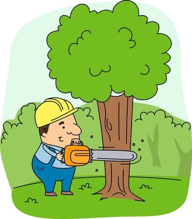 deforestation: Illustration of a Logger at Work