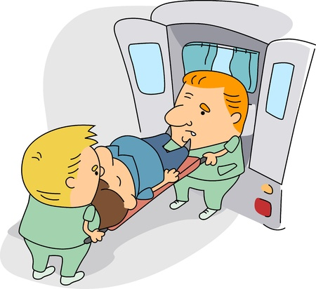 paciente en camilla: Ilustraci�n de param�dicos en el trabajo