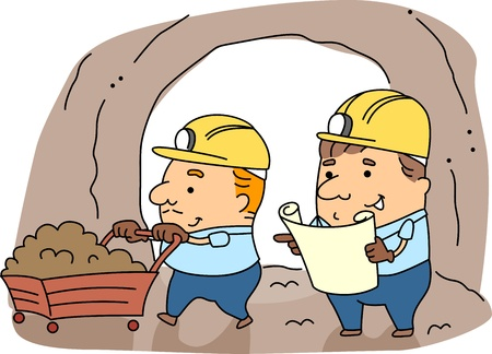 Illustration of Miners at Work illustration