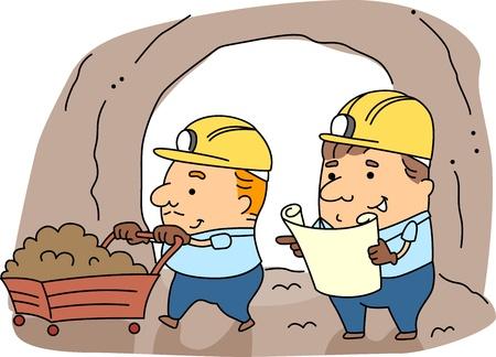 mineros: Ilustraci�n de los mineros en el trabajo