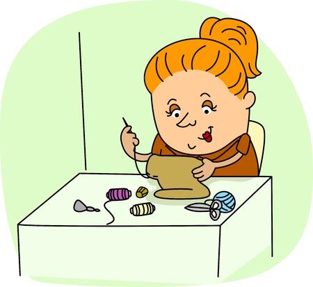 seamstress: Illustration of a Seamstress at Work