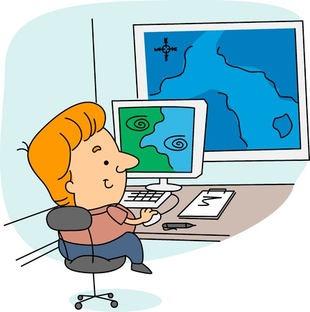 meteorology: Illustration of a Meteorologist at Work Stock Photo