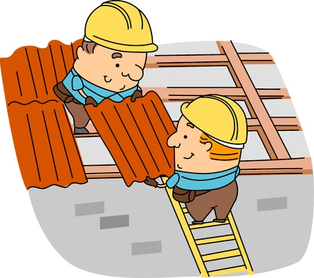 labourers: Illustration of Roofers at Work