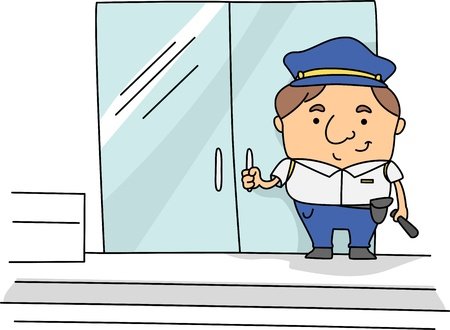 Illustration of a Security Guard at Work Stock Illustration - 9456811