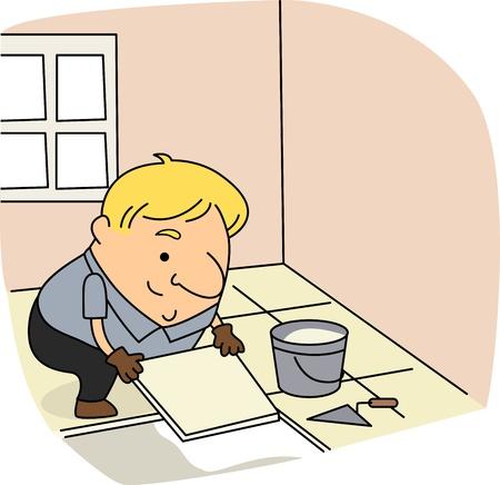 Illustratie van een tegel Setter op het werk Stockfoto