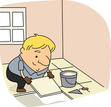 Illustration of a Tile Setter at Work Stock Illustration - 9456846