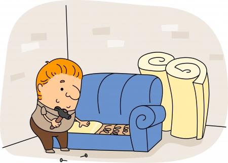 Illustration of an Upholsterer at Work illustration