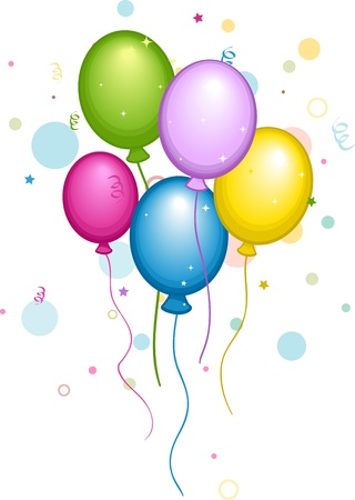 Illustration of Colorful Balloons and Confetti illustration