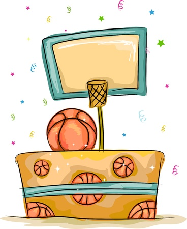 orange cake: Illustration of a Cake with a Basketball Theme Stock Photo