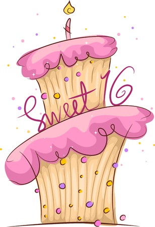 pink cake: Illustration of a Cake with a Sweet 16 Sign