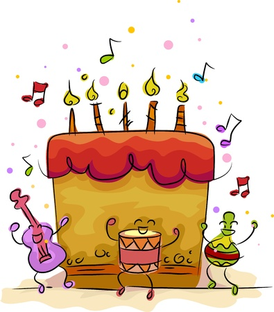 Illustration of a Birthday Cake with a Musical Theme illustration