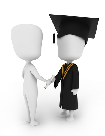 commencement exercises: 3D Illustration of a Man Giving a Graduate His Diploma