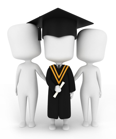 commencement exercises: 3D Illustration of a Graduate Posing with His Family