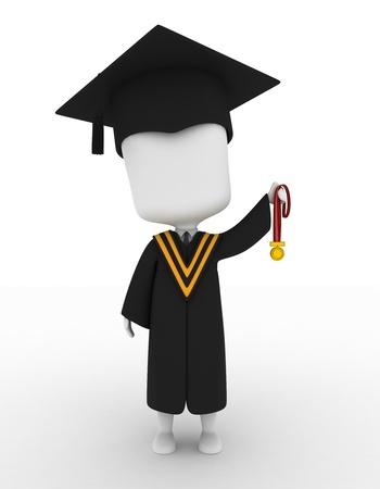 3D Illustration of a Graduate Holding His Medal Up High illustration