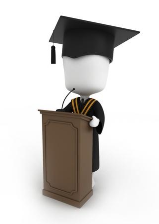 commencement exercises: 3D Illustration of a Graduate Giving a Graduation Speech