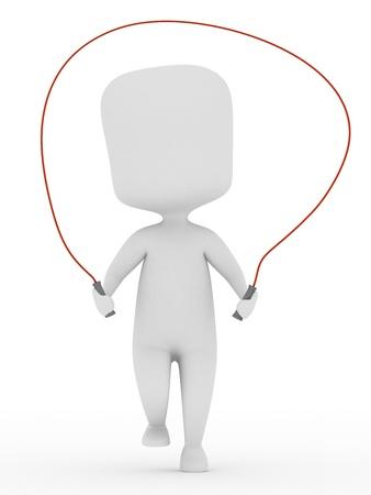 saltar la cuerda: Ilustraci�n 3D de un hombre usando una cuerda para saltar Foto de archivo