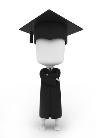 commencement exercises: 3D Illustration of a Graduate Pose Proudly Stock Photo