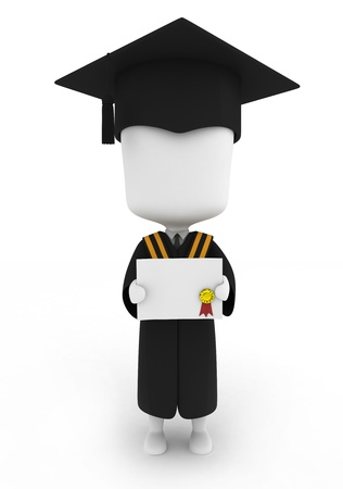 toga: 3D Illustration of a Graduate Showing His Certificate Stock Photo