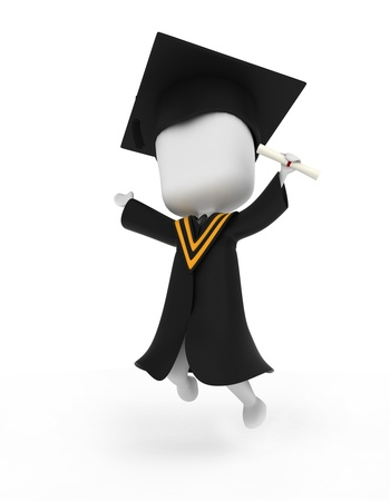 commencement exercises: 3D Illustration of a Graduate Jumping Happily