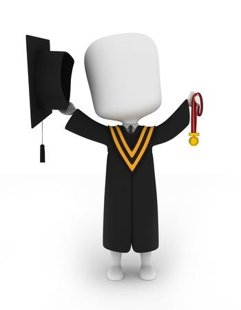 Illustration 3D d'un Graduate Holding Sa médaille Up High