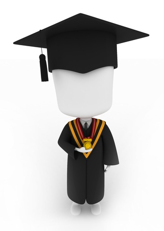 commencement exercises: 3D Illustration of a Graduate Holding His Medal Looking Up