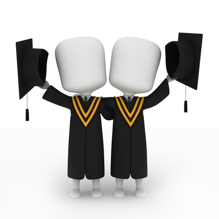 commencement exercises: 3D Illustration of Graduates Posing Next to Each Other Stock Photo