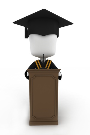 commencement exercises: 3D Illustration of a Graduate Giving a Speech