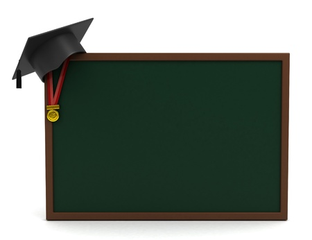 3D Illustration of a Graduation Cap Placed on a Blank Board Stock Illustration - 9549555