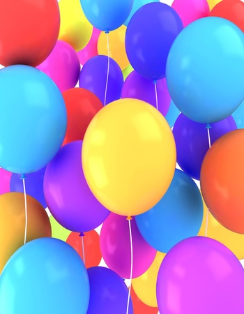 bash: 3D Illustration of Colorful Balloons Background