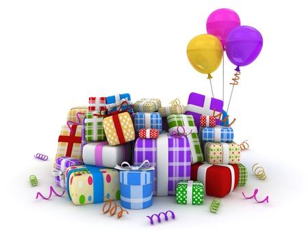 gifts: 3D illustratie van geschenken in verschillende pakketten Stockfoto