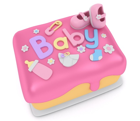 3D Illustration of a Cake for a Baby Girl Shower illustration