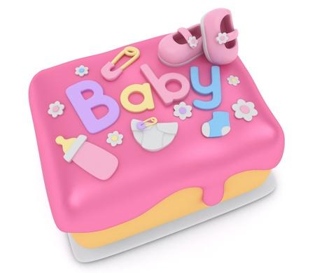 girl shower: Ilustraci�n 3D de un pastel para una ducha de ni�a beb�