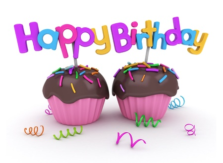 3D Illustration of Twin Cupcakes with Birthday Greetings Attached Stock Illustration - 9549560